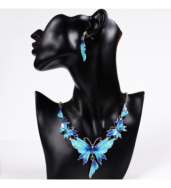 QIYUN.Z Enamel Butterfly Pendant Bib Fringe Y Neck Lariat Necklace Stud Earrings Set - CQ11MNV03C1