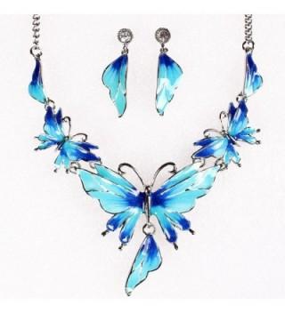 QIYUN Z Butterfly Pendant Necklace Earrings