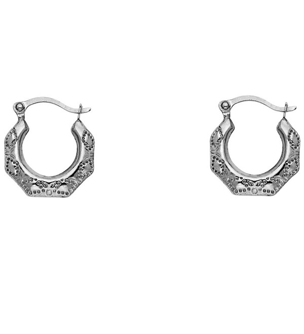 14k White Gold Fancy Filligree Hoop Earrings (13 x 13mm) - CO125HF4Q59