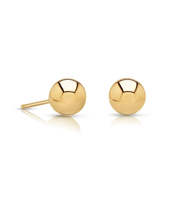 14k Gold Ball Stud Earrings with Secure and Comfortable Friction Backs- 5mm Diameter - C312D8W5RUL