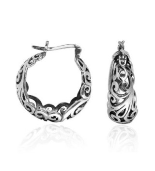 Graceful Swirls Sterling Silver Earrings in Women's Hoop Earrings