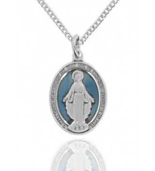 Heartland Women's Sterling Silver Oval Blue Enamel Miraculous Medal + USA Made + Pick Chain - CW1896Y62UC