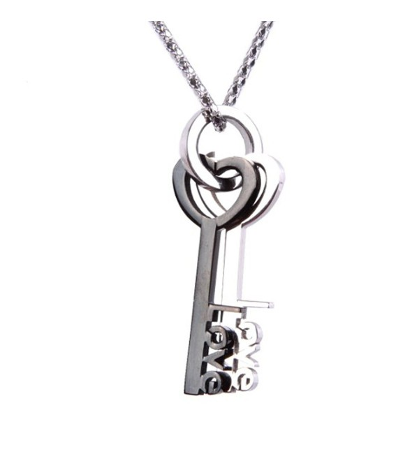 "Lovers Key to Your Heart Stainless Steel Pendant Chain Necklace 21"" - C311MMM4T7V"