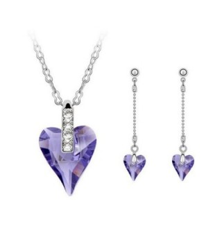 COPAUL Fashion Austrian Necklace Earrings - Light Ppurple - CQ11WUM53DH