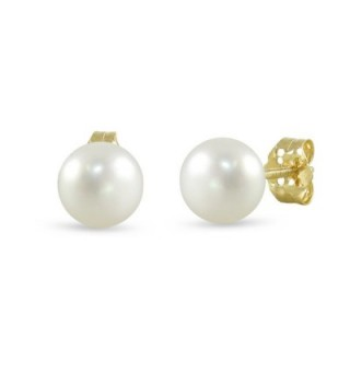 14K Gold White Freshwater Cultured Pearl Button Stud Earrings - C612F0JLSRV