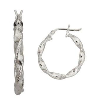 Sterling Silver Diamond Cut Twist Hoop - C712M6XSHDH