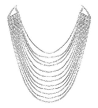 Humble Chic Darling Waterfall Bib Necklace Multi-Strand Chain CZ Simulated Diamond Collar - Silver-Tone - CA182H2SRNC