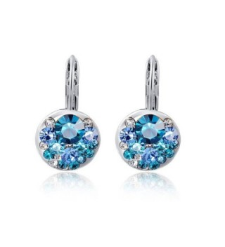 Suyi Austrian Crystal Earrings Rose Gold Plated Multi-colored Drop Earrings - Silver Blue - CZ123RDMP4H