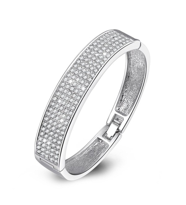 "QIANSE ""Queen Snow"" Diamond Accent Crystal Pave Bangle Bracelet 7.8"" - C811WIUUHCD"