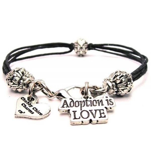 Adoption Is Love Black Cord Pewter Beaded Bracelet - CL11FZFRGI1