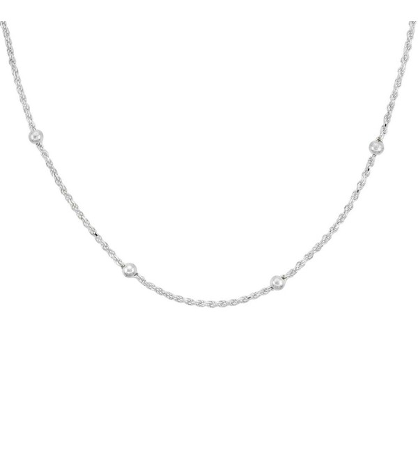 Sterling Silver Rope Chain Station Necklaces & Anklets 4mm Beads Nickel Free Italy- sizes 7 - 30 inch - CZ11OG4IGY5