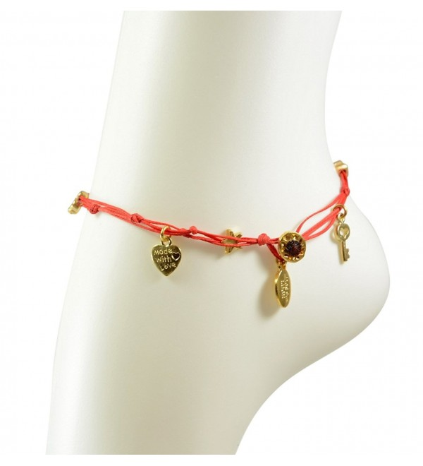 Red Anklet with Gold Plated Good Luck Charms - C511BRHI0AD