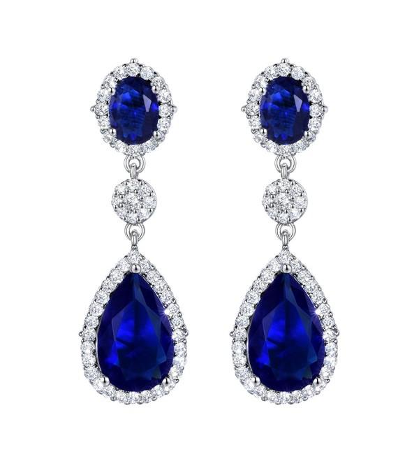 SELOVO Teardrop Drop Dangle Earrings Silver Tone Party Jewelry - blue - C412HWWFF9L