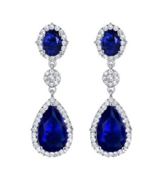 SELOVO Teardrop Drop Dangle Earrings Silver Tone Party Jewelry - blue - C412HWWFF9L