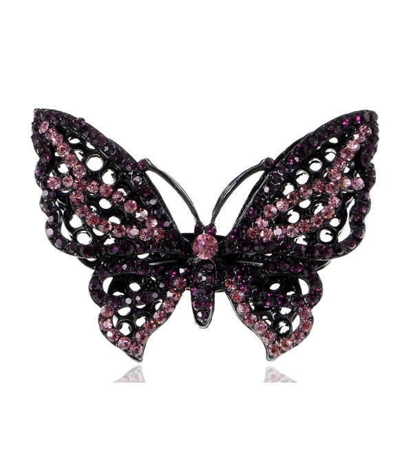 Alilang Gunmetal Tone Black Purple Pink Rhinestones Butterfly Ring - CF115Y5M2VX