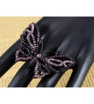 Alilang Gunmetal Purple Rhinestones Butterfly