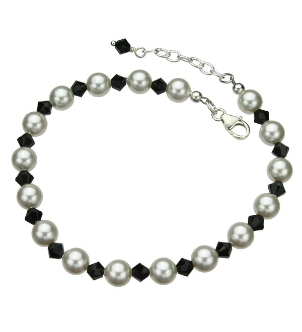 "Sterling Silver Bracelet- Simulated Pearls Made with Swarovski Crystals 7""+1"" Extender - CN11EGMMGYD"