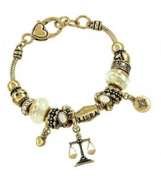 DianaL Boutique Zodiac Sign Libra Horoscope Bracelet Gold Tone - CA11STSJPWB