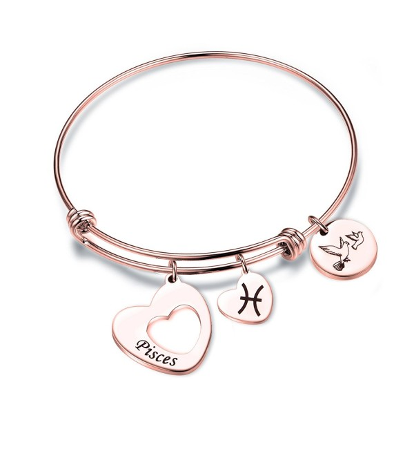 Maofaed Rose Gold Zodiac Sign Constellation bracelet for Women Girl Gifts - Pisces-Rose Gold - CF185SGIOE6