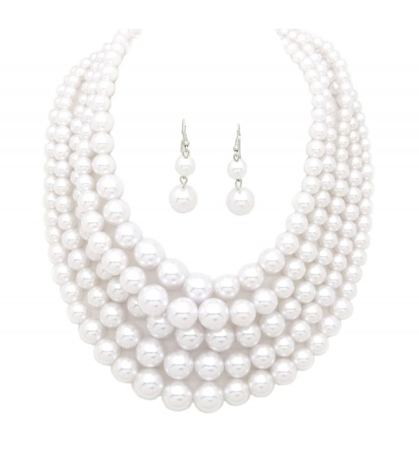 Women's Three or Five Multi-Strand Simulated Pearl Statement Necklace and Earrings Set - CD12O39E145