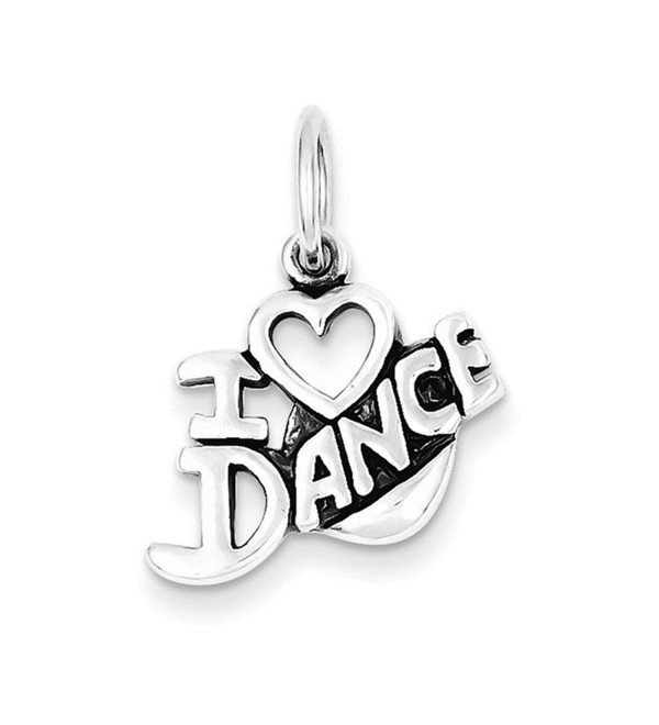 Sterling Silver Antiqued I Love Dance Charm - C5115EY7PLV