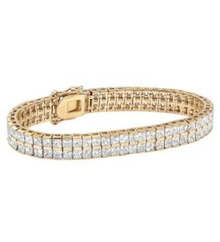 "Gold Tone Double Row Tennis Bracelet (5.5mm)- Princess Cut Cubic Zirconia- 7.25"" - CJ12OBVEB8A"