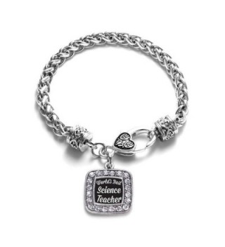 World's Best Science Teacher Classic Silver Plated Square Crystal Charm Bracelet - C311U7O38VJ