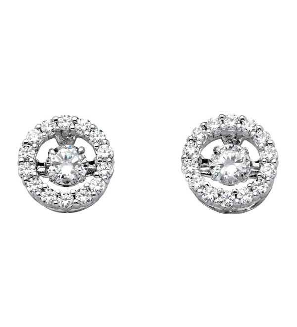 "White Cubic Zirconia ""CZ in Motion"" Halo Stud Earrings in Platinum over .925 Silver - CN11VAPJHS1"