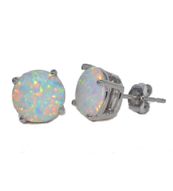 8mm Simulated Opal Round Stud Earrings .925 Sterling Silver Rhodium Finish - CE11B9O6HYV