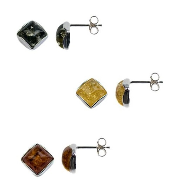 Multicolor Amber Perfect Classic Square Stud Earrings Set - C01138BE7CH
