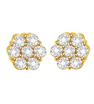 Round Cut White Cubic Zirconia Flower Shape Stud Earrings in 14k Gold Over Sterling Silver (0.05 cttw) - CJ12O0TE359