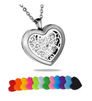 HooAMI Filigree Heart Stainless Steel Aromatherapy Essential Oil Diffuser Necklace Locket Pendant - CU12IE16FQL