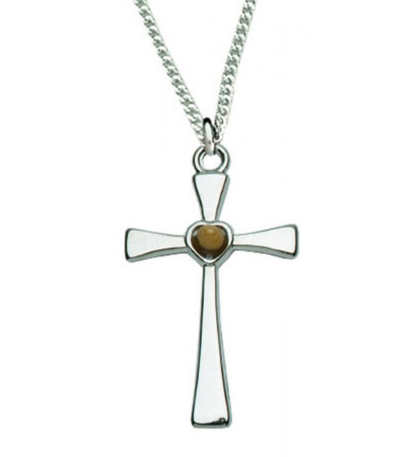 "Women's Silver Cross Necklace with Genuine Mustard Seed 18"" Chain in Gift Box - C811QUBH6ZR"