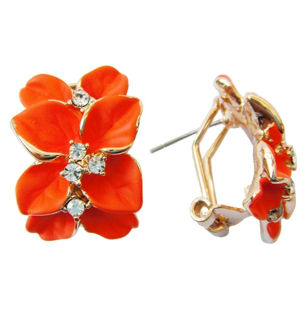 Navachi 18k Gold Plated Clear Crystal Orange Enamel Leaves Flower Omega Earrings - CG11T60WSTN