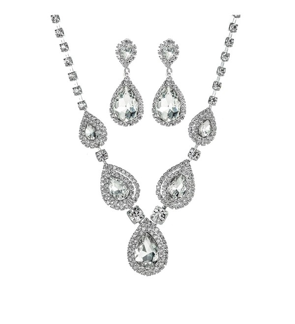 Miraculous Garden Teardrop Crystal Rhinestone Necklace Earrings Jewelry Sets for Wedding - White - C8186094HUT