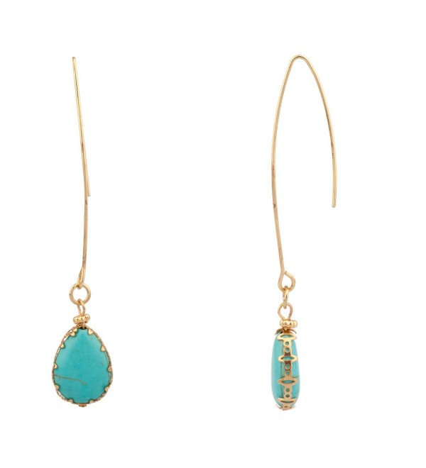 Lux Accessories Dangle Teardrop Synthetic Turquoise Stone Earrings - CA11MDIHPR5