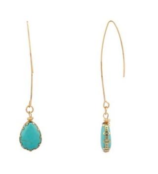 Lux Accessories Dangle Teardrop Synthetic Turquoise Stone Earrings - CA11MDIHPR5