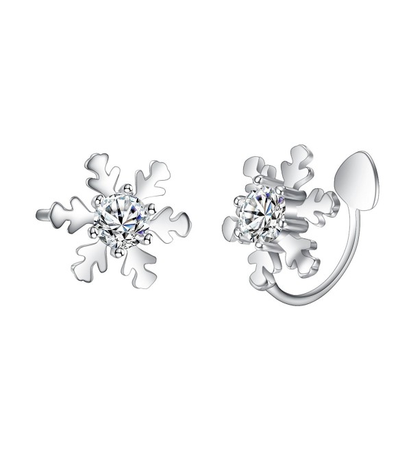 EleQueen Sterling Snowflake Crawlers Earrings - CY186HKTS3U