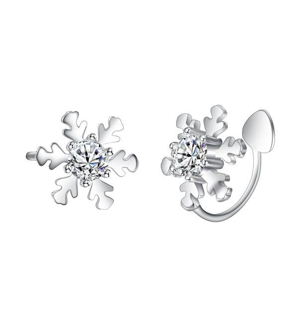 EleQueen Sterling Snowflake Crawlers Earrings - CY186HKTS3U