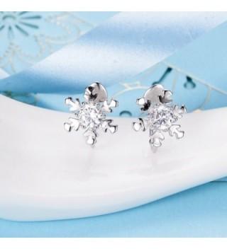 EleQueen Sterling Snowflake Crawlers Earrings