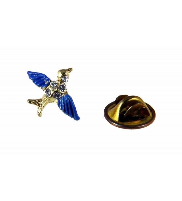 6030343 Bluebird of Happiness Lapel Pin Brooch Tie Tack Blue Bird Cheer Guide - C811E9N83Y1