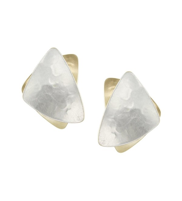 Marjorie Baer Stacked Triangle Clip Earring in Brass and Silver - CH11CPVCG3X