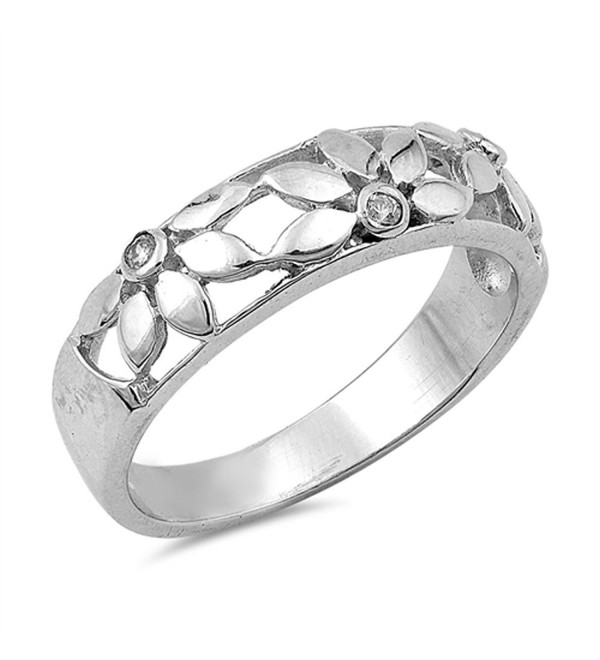 White CZ Polished Flower Filigree Ring New .925 Sterling Silver Band Sizes 5-10 - CM12JBXIMNZ