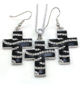 Black White Zebra Stripe Animal Print Christian Cross Pendant Necklace Dangle Earrings - C5110Q8GUCF