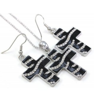 Stripe Christian Pendant Necklace Earrings