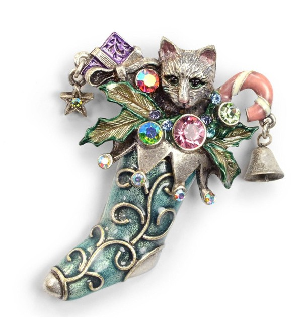 Cat Christmas Stocking Pin- Christmas Kitty Brooch (Silver and Bronze) - CV11HQ5ZL4T