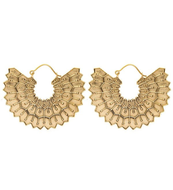 81stgeneration Women's Brass Gold Tone Egyptian Inspired Wing Tribal Ethnic Dangle Earrings - CO12LJ0D08F