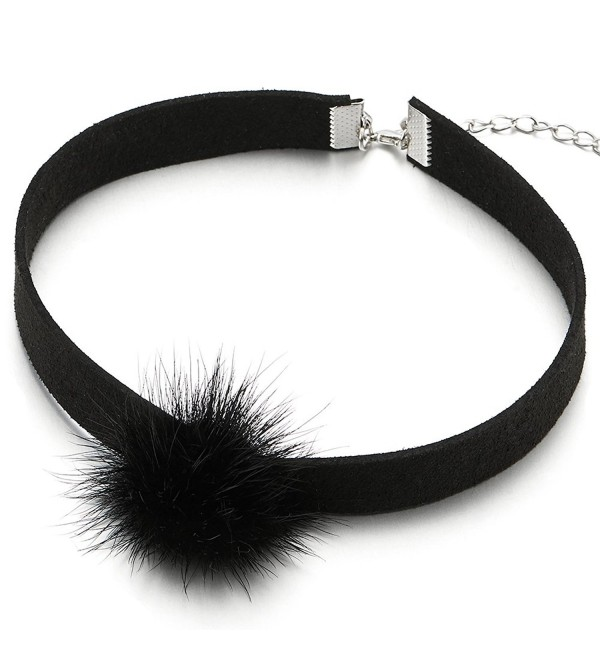 Cute Black Choker Necklace with Red Fluffy Fur Ball Pom Pom Charm Pendant for Lady Women Girls - 1 - C512NACDMXC