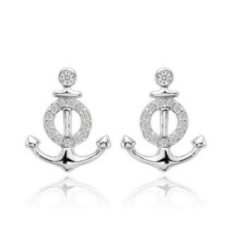 EVER FAITH 925 Sterling Silver Cubic Zirconia Nautical Theme Anchor Stud Earrings Clear - CQ1299C0IQ7