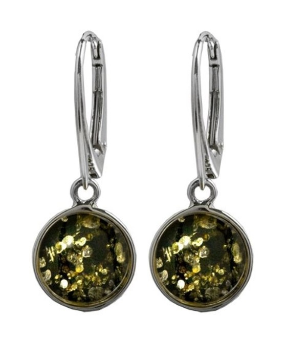 Green Amber Sterling Silver Round Leverback Earrings - CD115QL7NMN